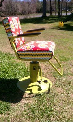 Vintage Reupholstered Salon / Barber Chair. $550.00, via Etsy.