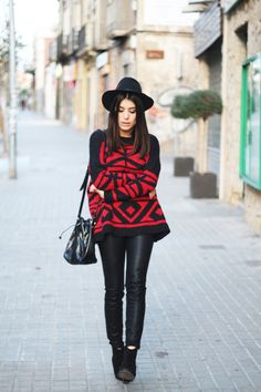 black leather pants - suede ankle boots - slouchy red printed sweater - hat - street style