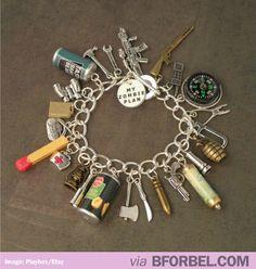 Zombie Apocalypse Weapons Charm Bracelet $42