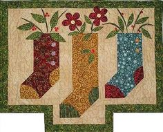 Three+Stockings+Applique+Quilt+Pattern+by+Prairie+Grove+Peddler+at+Creative+Quilt+Kits