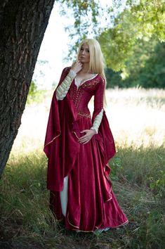 Medieval Fantasy carmesí Vestido de juego de tronos inspirados