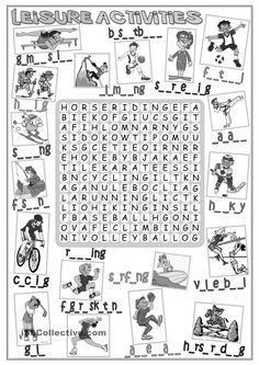 Leisure activities - wordsearch
