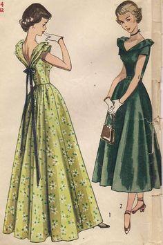 50s EVENING DRESS V NECK BACK Simplicity 2864 Sewing Pattern