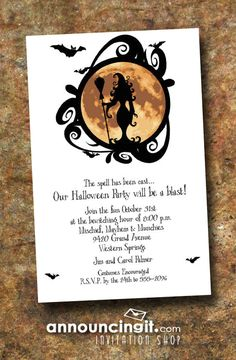 A witch and her broom are silhouetted against an erie full moon. The Full Moon Witching Hour Halloween Invitations are perfect for halloween party invitations or halloween birthday invitations. Adult Halloween Party, Halloween Celebration, Halloween Party Decor, Halloween Signs, Holidays Halloween, Halloween Cards, Happy Halloween, Halloween 2019, Halloween Birthday Invitations