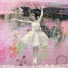 Glittering Clouds Pink Ballerina Girl In Tutu by VelvetMorning, $9.00
