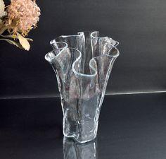 Vintage glass vase 'EVA' by Pertti Kallioinen for Muurla, Finland. 1970's Finnish free-form ruffle vase. Clear Glass Vases, Finland, I Shop, Mid Century, Modern, Free, Etsy, Vintage, Trendy Tree