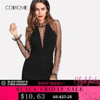 COLROVIE Official Store - Small Orders Online Store on Aliexpress.com.  COLROVIE Black Pearl Beading Vine Mesh Panel Dress Women Ruffle Round Neck  Long ... c88a12d2c0dc