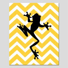 Modern Chevron Frog Silhouette Print - 8x10 Chevron Zig Zag - Kids Wall Art - Cute and Fun - Choose Your Colors
