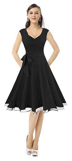 Amazon.com: Killreal Women's Elegant Sleeveless Vintage 50s Style V-Neck Cocktail Party Swing Dress Black X-Small: Clothing