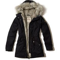 Hollister Faux Fur Lined Parka (£63) ❤ liked on Polyvore featuring outerwear, coats, jackets, casaco, black, hooded coat, faux fur lined coat, faux fur lining coat, cinch coats and zip coat