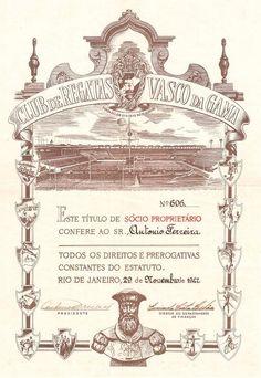 """Brazil, Clube de Regatas """"vasco da Gama"""", Titulo de Socio Proprietario, 1962"""