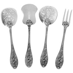 Barrier French All Sterling Silver Dessert Hors D'oeuvre Set Box Foliage