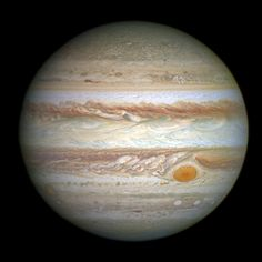 Hubble's Jupiter and the Amazing Shrinking Great Red Spot.  Gas giant Jupiter is the solar system's largest world with about 320 times the mass of planet Earth. It's also known for a giant swirling storm system, the Great Red Spot, featured in this sharp Hubble image from April 21. Nestled between Jupiter-girdling cloud bands, the Great Red Spot itself could still easily swallow Earth, but lately it has been shrinking.
