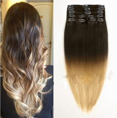 Hot Queen 2 Tone Ombre Clip In Hair Full Head Set 7pcs Brazilian Virgin Remy Hair Hair Silky Straight_Clip In Hair Extensions_Products_Ali Queen Hair,Virgin Hair Wholesale,Hair Extension Online Supplier.