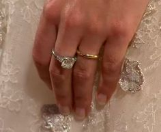 Princess Stephanie of Luxembourg  Honouring her late mother, the bride wore her mother's engagement ring on her left hand whilst wearing her own on her right hand. For their wedding rings the couple chose fair-trade gold, showing their humanitarian side.