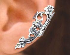 Long Garden Rose ear cuff Sterling Silver earrings Rose by RingRingRing | Etsy