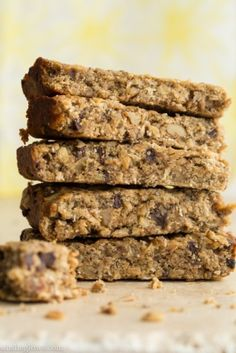 Banana Bread Protein Bars by Oh She Glows-Substituted 1/3 c whole wheat flour for the groats, cranberries for the walnuts, and sunflower butter for peanut butter. probably better with peanut butter, but sunflower = daycare friendly