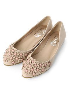 3D Floral Beads Flat Shoes in Nude Pink - Shoes - Goods - Retro, Indie and Unique Fashion