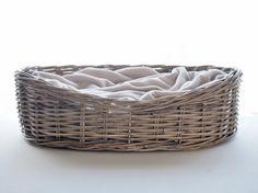 Oval Rattan Dog Baskets - Greywash – Charley Chau - luxury dog beds & blankets