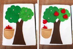 Quiet Book: Apple tree w/ snaps Diy Quiet Books, Baby Quiet Book, Felt Books, Kids Activity Books, Book Activities, Quite Book Patterns, Quiet Book Tutorial, Quiet Book Templates, Games For Toddlers