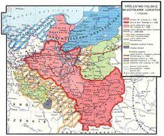 Mapa Polski za czasów Władysława Łokietka