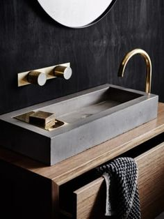 Explore all of the options for your bathroom sink! See beautiful modern bathroom sinks, the perfect sink for small bathrooms ideas, and how to compliment any bathroom vanity with the best sink for you. Bathroom Toilets, Bathroom Faucets, Small Bathroom, Bathroom Photos, Bathroom Ideas, Concrete Bathroom, Bathroom Black, Concrete Cement, Kitchen Sinks