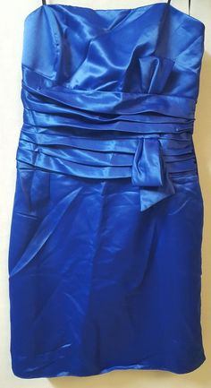 PacificPlex Dress Size 2X Blue Taffeta Short Cocktail Bridesmaid Strapless Bow #PacificPlex #Sheath #Cocktail