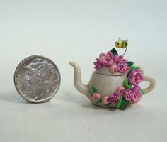 Honey Bee Teapot Pink Rose Flower OOAK Miniature Handmade | eBay