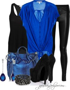 """""""Black & Blue"""" by jafashions on Polyvore"""
