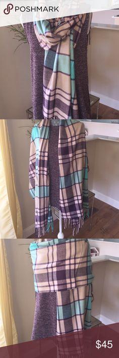 Mint and Plum Tarten Scarf🎄Sale Soft cashmink Tarten scarf plum, mint and beige. Very versatile in styling!! 💯% Viscose Accessories Scarves & Wraps