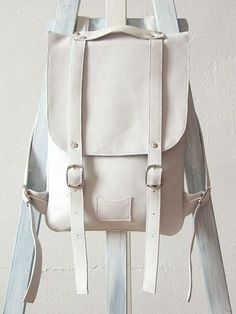 White leather backpack rucksack / To order