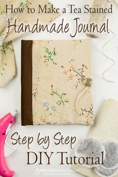 handmade books How To Make A DIY Journal With Tea Stained Paper - this step by step tutorial to make a handmade tea or coffee stained journal. These handmade books are perfect for school projects, journals, scrapbooks, gifts, and more. Diy Journal, Homemade Journal, Journal Paper, Junk Journal, Journal Ideas, Handmade Journals, Handmade Books, Handmade Gifts, Travelers Notebook