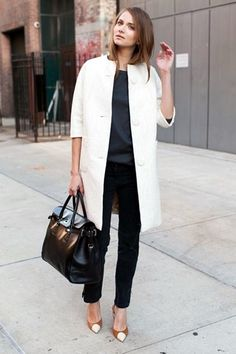 White trench + black & grey + cognac shoes