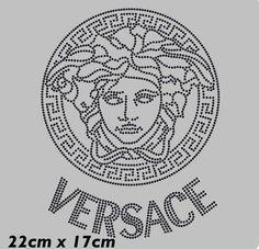 x10 NEW VERSACE Black Rhinstone Iron on transfer for fabric 22cm x17cm