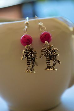 Palm Tree Tropical Dangle Hot Pink Howlite by SeasideJewelry1