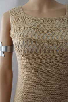 1960 crochet Dress / vintage beige crochet dress / mod sleeveless crochet dress Learn the basics Crochet Shirt, Cotton Crochet, Knit Crochet, Crochet Sandals, Crochet Fringe, Online Dress Shopping, Crochet Clothes, 60s Mod, Crochet Patterns