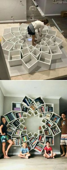 The best DIY projects & DIY ideas and tutorials: sewing, paper craft, DIY. Best DIY Furniture & Shelf Ideas 2017 / 2018 With so many projects being DIY fails, this family has found a win with this -Read Creative Bookshelves, Bookshelf Design, Diy Bookcases, Bookshelf Ideas, Diy Casa, Home And Deco, Diy Design, Design Trends, Wall Design