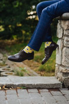 Yellow socks looks great with a blue suit