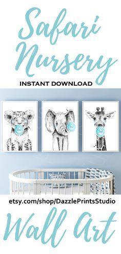 Safari Nursery Prints - SAFARI NURSERY DECOR [Instant Download Print] safari nursery theme, three piece wall art, tiger poster, giraffe bubblegum, above bed art #safarinursery#nurseryprints#safarianimals#nurserydecor#nurseryart#moms#parents#toddler#printables#printableart#printablewallart#junlenursery#newmom#newborn#prints#wallart#wallartdecor#wallartprints#babyboy#homedecor#posterart#animalprints Safari Theme Nursery, Jungle Nursery, Nursery Themes, Nursery Prints, Nursery Art, Nursery Decor, Three Piece Wall Art, Tiger Poster, Halloween Prints
