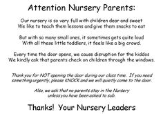 """H aving worked in Nursery at church for several years, I noticed some recurring issues: 1) Parents who """"hang out"""" in Nursery and don't atte..."""