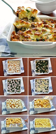 Dinner in a snap! Just bread, eggs, milk, cheese, chicken and frozen spinach. #savoury_bread_pudding #strata #chicken