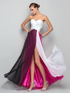 Formeller Abend/Militär Ball Kleid - Mehrfarbig Chiffon - A-Linie/Princess-Stil - bodenlang - Herz-Ausschnitt - USD $79.99