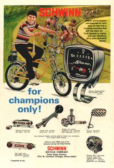 Gosh, Yes - Vintage Ads! Schwinn Bicycle Co, 1973 Bycicle Vintage, Bycicle Woman Bycicle Illustration, Bycicle Art Old Advertisements, Retro Advertising, Retro Ads, Vintage Ads, Bmx, Cool Bicycles, Cool Bikes, Old Bicycle, Bicycle Sidecar