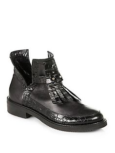 Aperlai Crocodile-Embossed Leather Ankle Boots