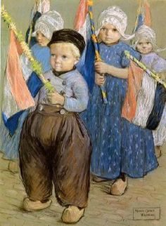Parade Of Dutch Children - The Procession by Marcia Oakes Woodbury