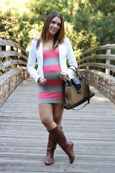 summer maternity bump style - short tight dresses with boots : )