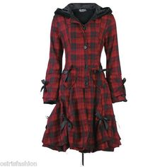 Poizen Industries Emo Gothic Punk Alice Coat Red for Ladies Goth Punk Emo | eBay