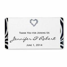 Elegant Zebra Stripe Wedding Water Bottle Label