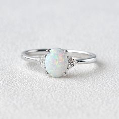 White Opal & Moissanite White Gold Ring - 9.75 / Solid 14K Yellow Gold