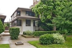 Walter Burley Griffin designed the home and its mirror-image neighbor, both now city landmarks. They're in the Edgewater neighborhood on the North Side.